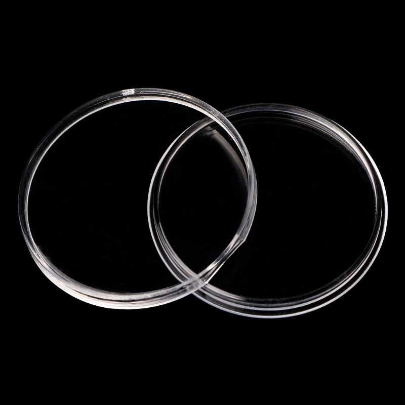 46 milímetros Titular Moeda de Plástico Cápsula De Armazenamento Caso Caixa De Exibição Com 5 Tamanhos Anéis Pad
