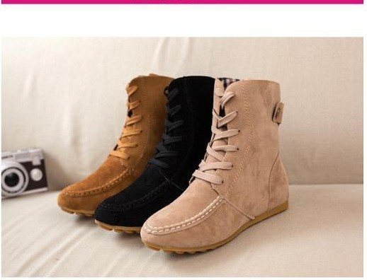 0eabbc7fef10 2014 New Women Flat Ankle Snow Motorcycle Boots Female Suede Leather Lace Up  Martin Boot-in Ankle Boots from Shoes on Aliexpress.com