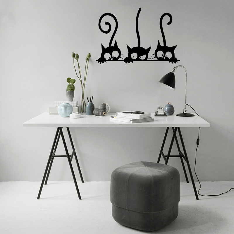 Lovely Three Black Cat DIY Wall Stickers Lovely Three Black Cat DIY Wall Stickers HTB1XCl7QpXXXXbxapXXq6xXFXXXc