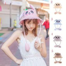 Yfashion Women Girl Cute Bunny Ears Hat Jumping Ear Summer Sunscreen Straw Hats