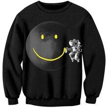 Cloudstyle 3D печать толстовки космонавт граффити смайлик толстовки мужчин черный повседневный уличный стиль модный пуловер