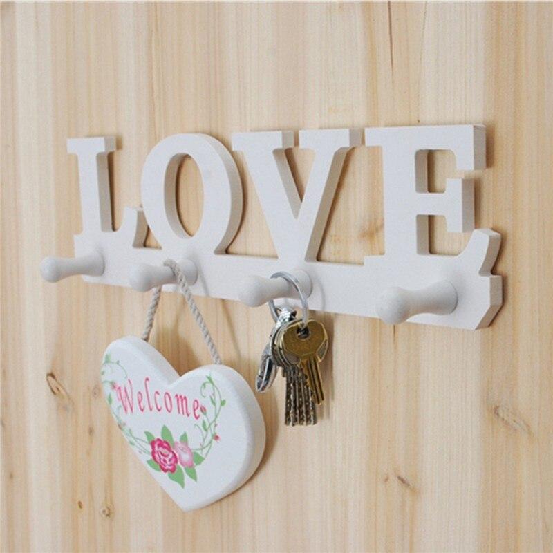 White Love Coat Hat Key Holder 4 Hooks Clothes Bag Robe Mount Screw Wall Rack Door Bathroom Home Decor Hanger