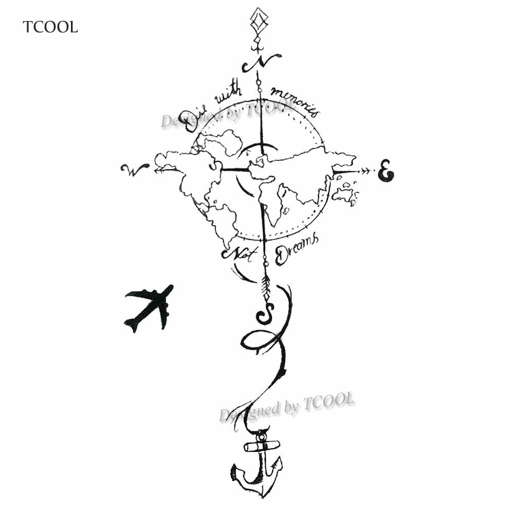 HXMAN Plane To Earth Temporary Fake Tattoo Body Art Sticker Waterproof Hand Tattoo Sticker For Men 9.8X6cm E-023