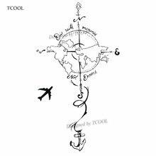 TCOOL Plane To Earth Temporary Fake Tattoo Body Art Sticker Waterproof Hand Tattoo Sticker for Men 9.8X6cm E-023