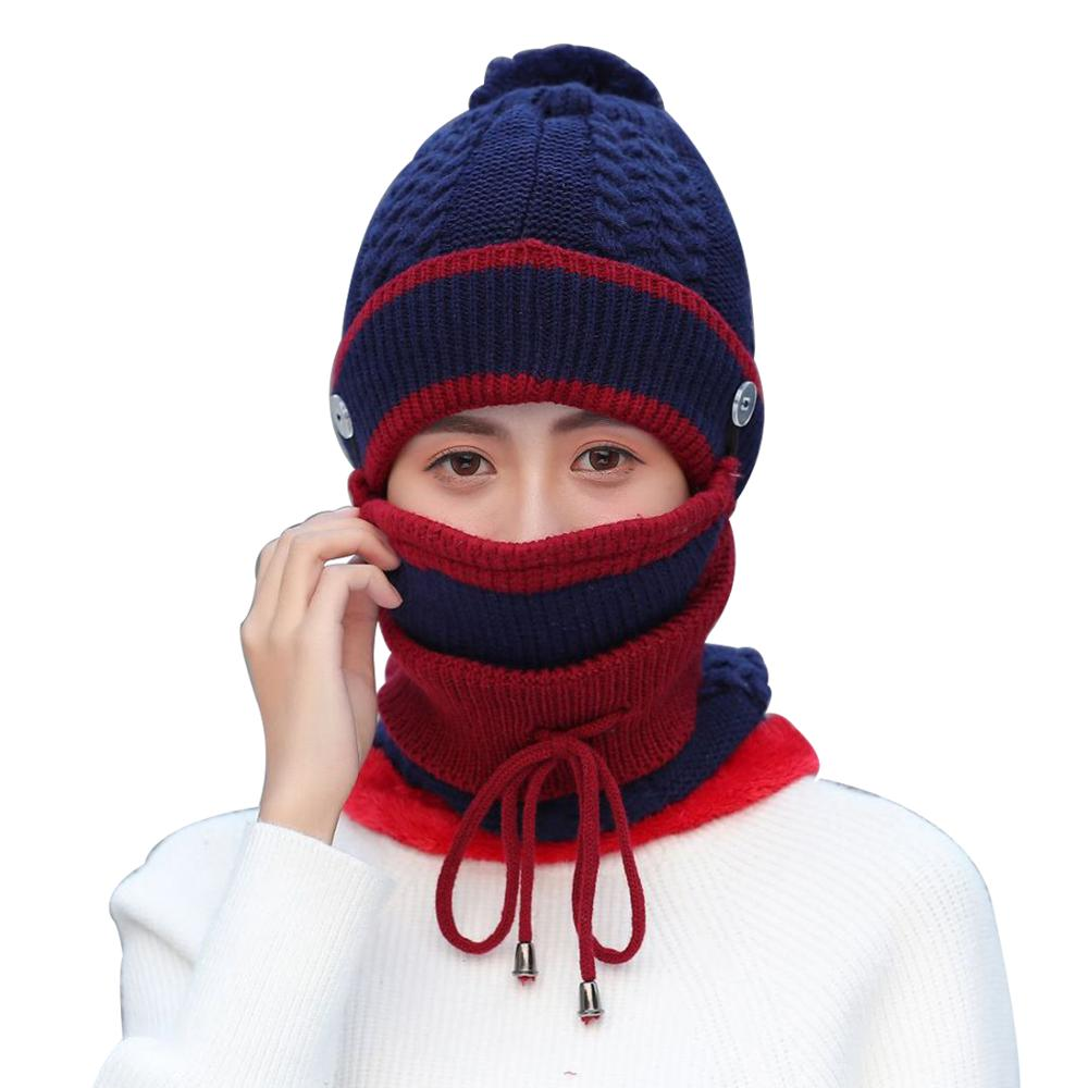 New Plus Velvet Thicken Winter Women Scarf Mask O-Neck Knitted Scarves Hat Warm Masks Female Beanies Scarves Winter Outdoor Sets