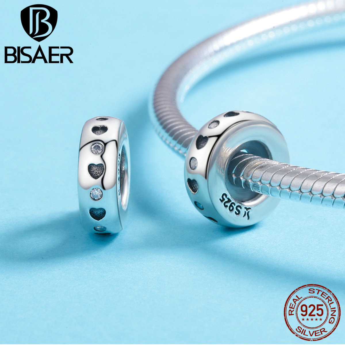 BISAER 100% 925 Sterling Silver Spacer Heart Shape Engrave Stopper Beads fit Charm Bracelet & Bangles 925 Silver Jewelry GXC593