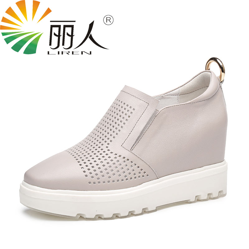 Liren 6cm high heel 2017 genuine leather breathable women s casual shoes platform loafers flat shoes