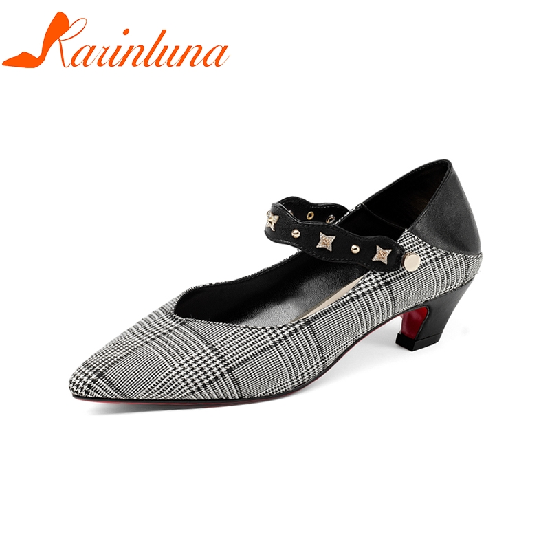 KARINLUNA New women's Genuine Leather Buckle Strap Hoof Med Heels Pointed Toe Shoes Woman Casual Spring Pumps Size 34-39 hee grand pointed toe pumps british style med heels patchwork t strap oxfords shoes woman casual vintage pump shoes xwd2469