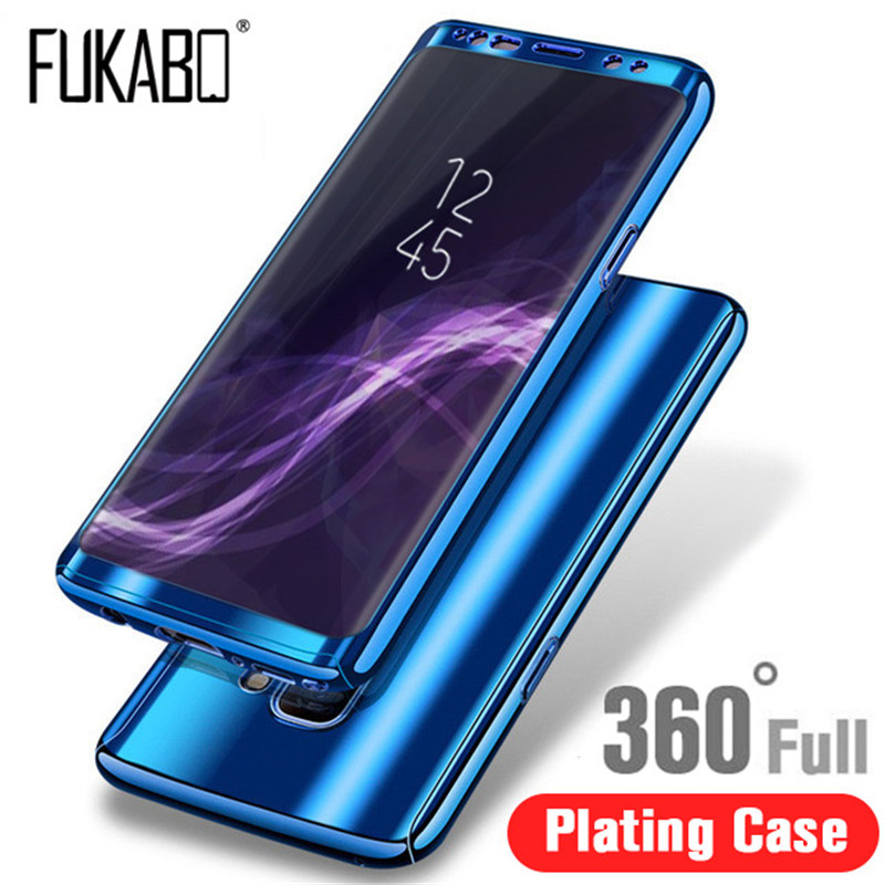 Luxury 360 Plating Mirror Case For Samsung Galaxy S9 S8 Plus S10 lite S7 Edge Note 8 9 For Samsung A6 A8 A7 2018 A5 J5 J7 2017(China)