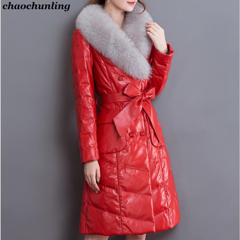 England 2017 New Winter Women Preppy Style Thick Coats 100% Leather Lady Jackets With Belt Red Pink and Black 3Colors england style 2017 new winter lady hooded balls jackets pink red black gray and blue lady down jackets imitation fox fur hat