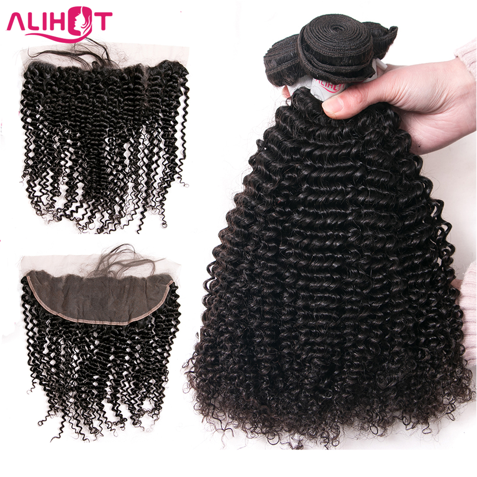 ALI HOT Raw Indian Hair Bundles with Closure Natural Color 3pcs Kinky Curly Human Hair Bundles With Frontal Closure Ear To Ear