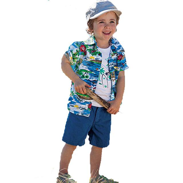 Boy ropa set 2017 estilo de camisa de verano + camiseta + pantalones cortos 3 unids niños bebés ropa casual de coco árbol lindo niños juegos de ropa