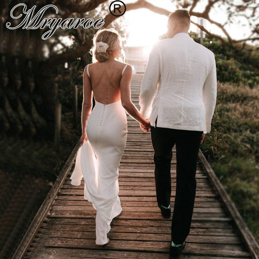 Mryarce Simple Elegant French Crepe Mermaid Backless Wedding Dress Deep V Neck Bridal Gowns