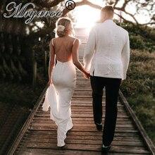 Mryarce basit zarif fransız krep Mermaid Backless düğün elbisesi derin V boyun gelinlikler