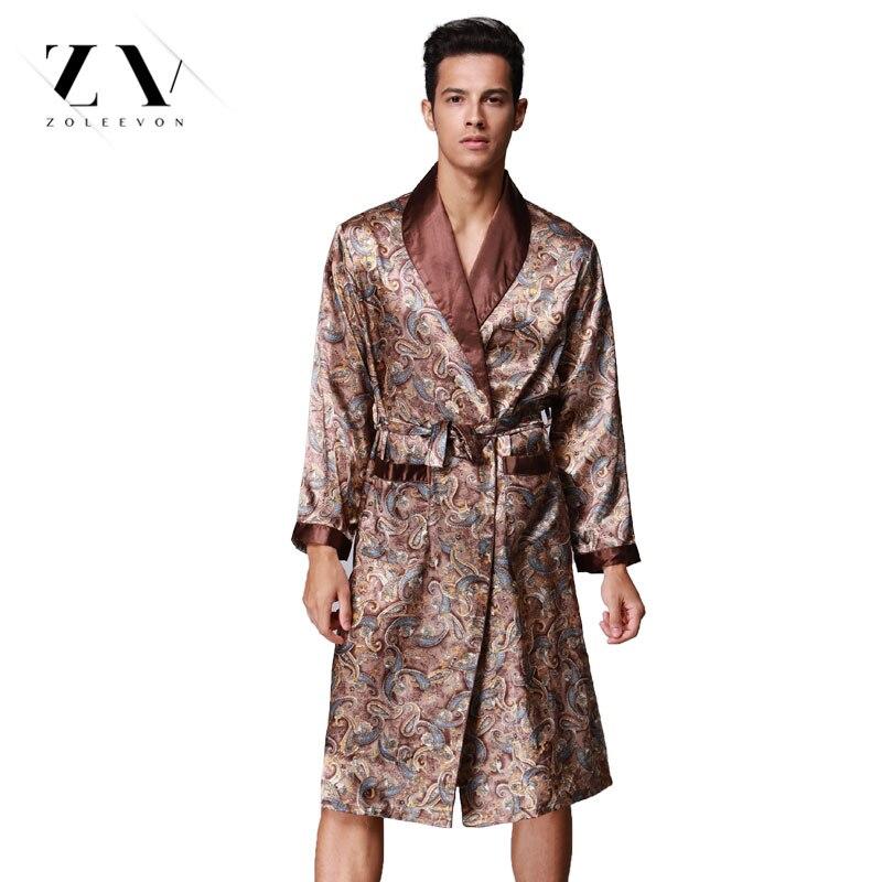 23e4c4c502fe Summer Bathrobe For Men Print Silk Robes Male Senior Satin Sleepwear Satin  Pajamas Long kimono Men Gown Bathrobe -in Robes from Underwear   Sleepwears  on ...