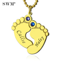 Lovely Women's Necklace Costume Jewelry Gold Color Colar Name Birth Stone Chain Pendant Baby Feet Necklaces for New Mom Bijoux