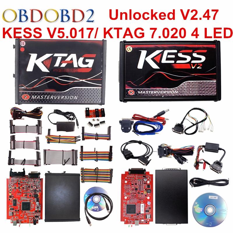 En ligne Rouge L'UE KESS V5.017 V2.47 Ktag V7.020 No Limit Token Maître Kess V2 5.017 K-tag K TAG 7.020 OBD2 Gestionnaire Tuning Kit Outil
