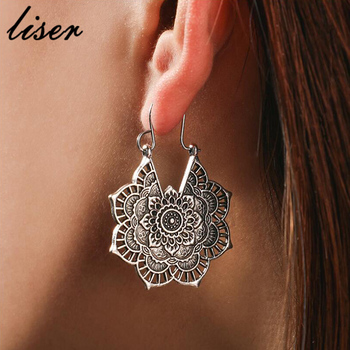 Hot Antique Silver Gypsy Indian Tribal Ethnic Hoop Dangle Mandala Earrings