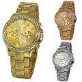 50 pçs/lote, 2016 Nova marca de Luxo relógio de Genebra Mulheres relógios com mostrador de Diamantes 3 cores Douradas Strass Senhoras da banda relógios