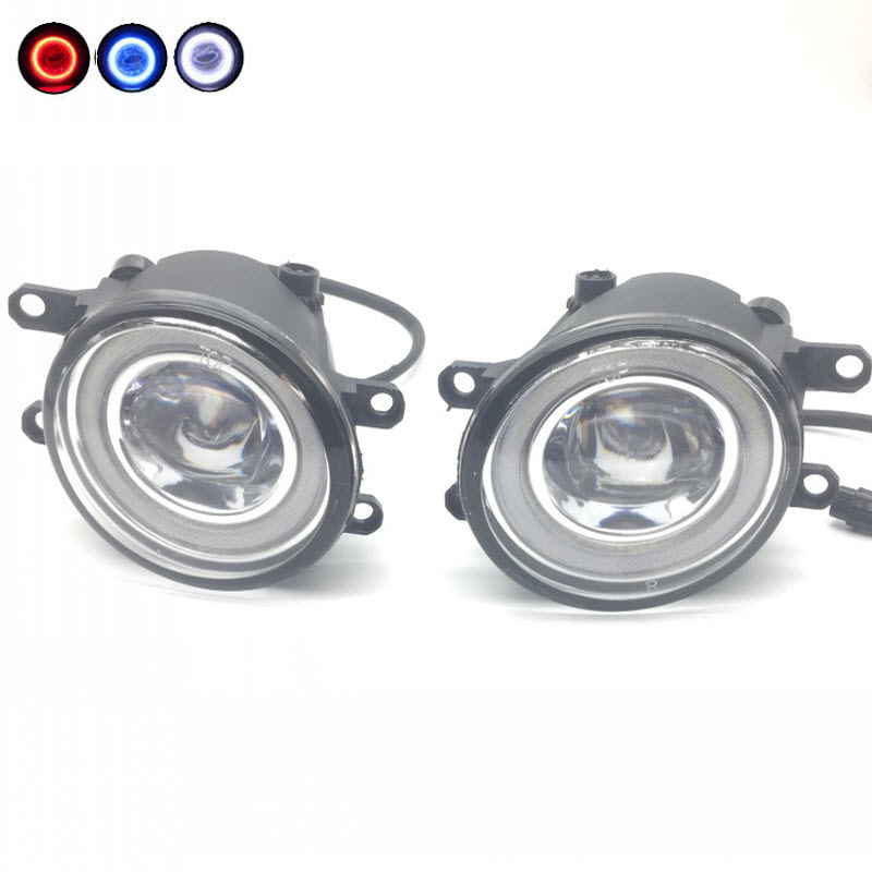 For Subaru Trezia Toyota Ractis 2 in 1 LED Cut-Line Lens Fog Lights Lamp 3 Colors Angel Eyes DRL Daytime Running Lights for opel astra h gtc 2005 15 h11 wiring harness sockets wire connector switch 2 fog lights drl front bumper 5d lens led lamp