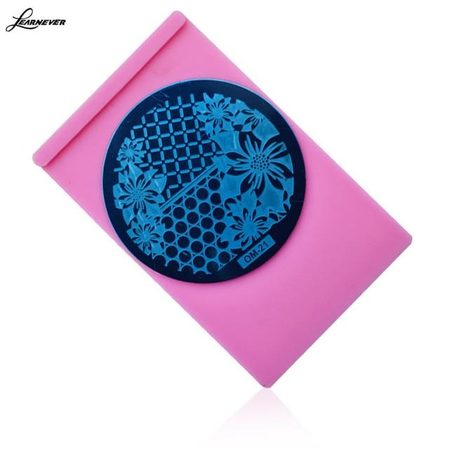 Nail art supplies wholesale pink printing template base steel ...