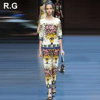 RockGeorge Runway Style Vintage Pattern Floral Print Blouse Tops And Pants Suit Tracksuit Sets For Women