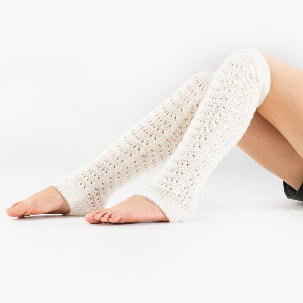 Femmes hiver chaud tricot jambières Crochet Leggings torsion trou Slouch botte leggings vague motif creux leggings fille décontracté