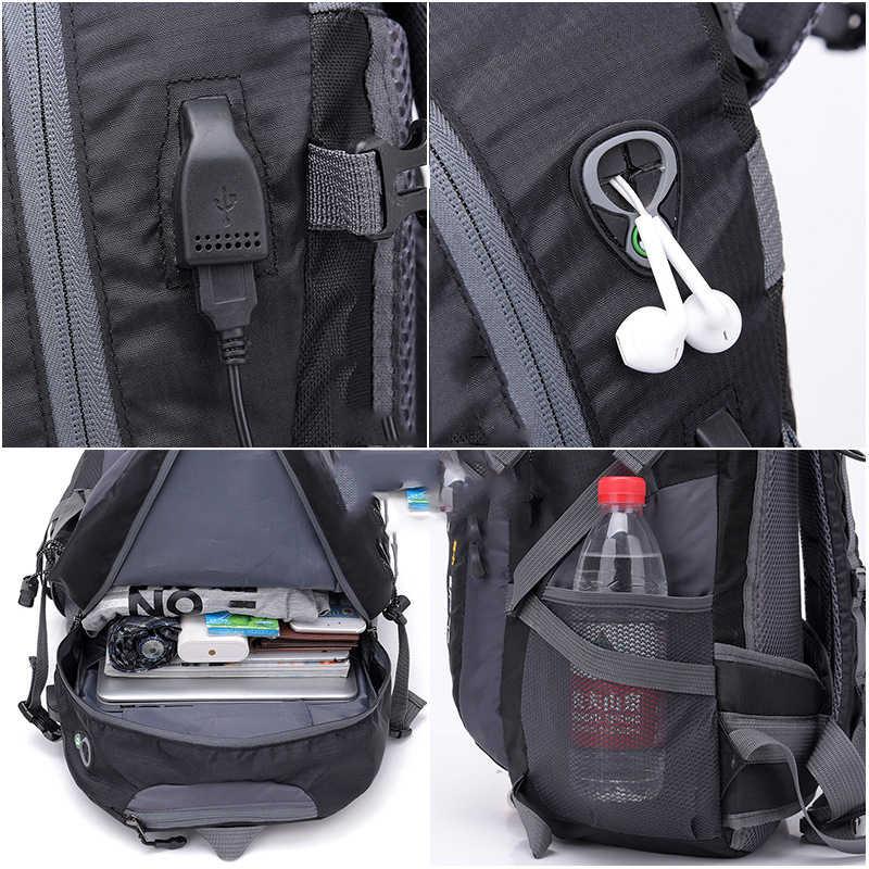40L Водонепроницаемый USB зарядка Альпинизм унисекс мужской рюкзак для путешествий для мужчин Спорт на открытом воздухе Кемпинг Туризм Рюкзак Пакет школьной сумки