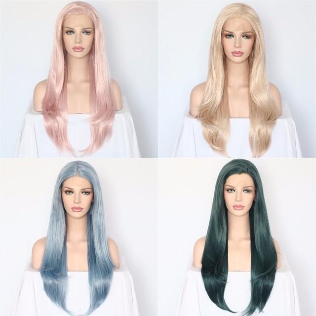 BeautyTown Luz Rosa Onda Natural Do Cabelo Resistente Ao Calor Branco Mulheres Maquiagem Diariamente Presente da Festa de Casamento Lace Synthetic Wigs Frente