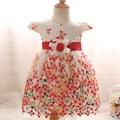 Summer infant baby girl vestidos gancho mariposa niña de las flores vestidos de princesa niños del vestido de boda