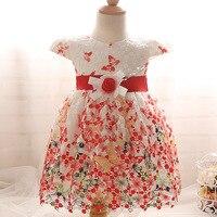 Summer infant baby girl dresses butterfly hook flower girl princess dresses children wedding dress