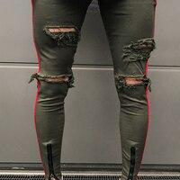 Mens Skinny Full Length Jeans Male Destroyed Stretch Denim Long Jeans Men Moto Biker Zipper Slim Fit Trousers AA51411