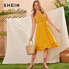 SHEIN Sarı Dantel Panel Fırfır Hem Kuşaklı Yaz Boho Midi Elbise Kadınlar Kolsuz Yüksek Bel Bayanlar Saçak Fit ve Flare elbiseler