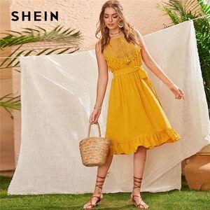 Image 1 - SHEIN vestido Midi Encaje Amarillo de verano, estilo bohemio, con dobladillo y volantes, sin mangas, cintura alta, corte flecos