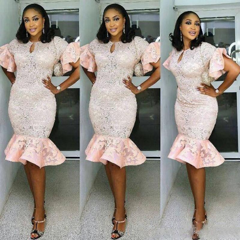 Plus Sirène Africain ebi mollet Aso Lacet Minerai Manches Formelle Rose Puff Femmes Mi Top Pâle iyawo Populaire Taille La Robe Robes wTBXORq