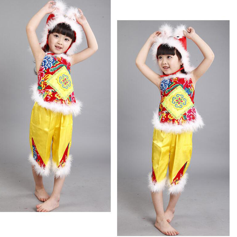 Children's Dance Costumes Yanko Dance Veil Chinese Folk Dance Custome Outfits Martial Arts Dance Performances with Hat