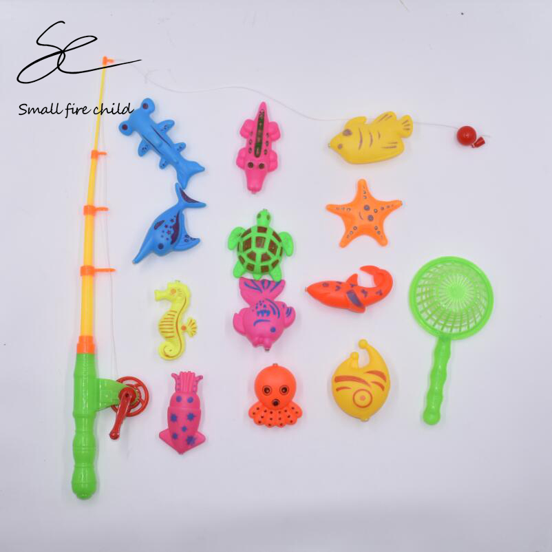 14pcs Set Magnetic Fishing Toy Game Kids 1 Rod 1 net <font><b>12</b></font> <font><b>3D</b></font> Fish Baby Bath Toys Outdoor Fun image