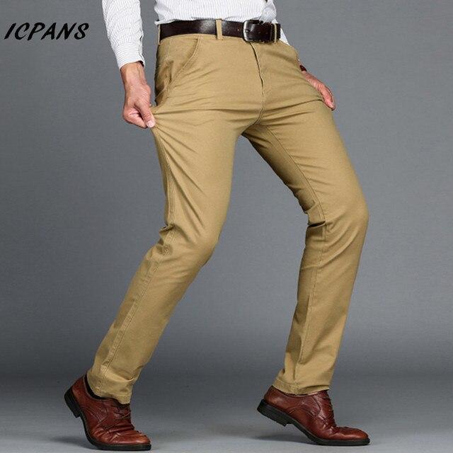 8bc25cbb8f2 ICPANS Brand Mens Pants Classics Smart Casual Business Stretch trousers  regular Straight Pant Black Blue Khaki Plus Size 44 46
