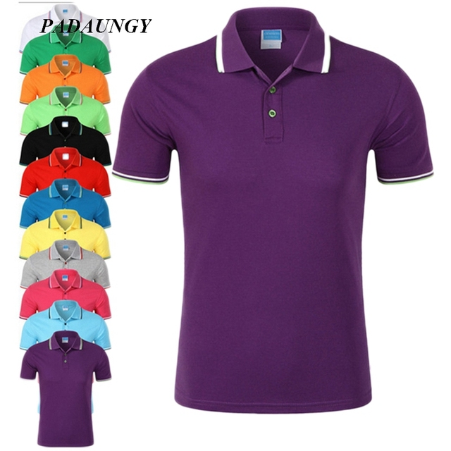PADAUNGY Marca Ropa de Verano Top Solid Polo Camisa Masculina Slim Fit  Masulinas Camisetas Polos Hombre a769951a2e636