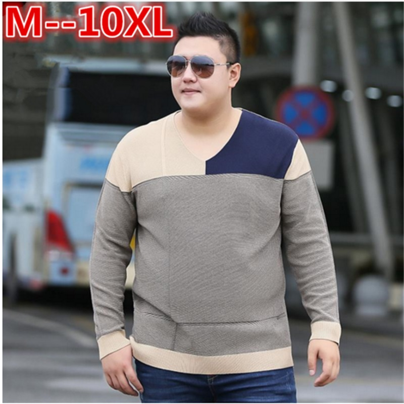 10XL 8XL 6XL 5XL Social Cotton Men's Pullover Sweaters Casual Crocheted Striped Knitted Sweater Men Masculino Jersey Clothes