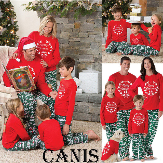 0ef74cb196 2019 New Year s Family Matching Women Men Kids Adult Christmas Cotton Pyjamas  Xmas Nightwear Sleepwear PJS Gift Outfits Sets
