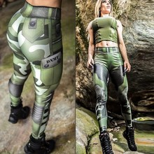 Punk S Women Camouflage Army Green Stretch Leggings Pants Tr