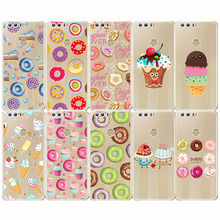 Donuts Chocolate Ice Cream Food  Cartoon Funny Case Soft Silicone Transparent Capinha for huawei honor 8 9 10 8lite 9lite 10li
