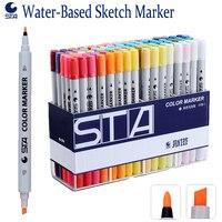 STA 80 Colors Set Color Marker Water Based Drawing Marker Daul Tip Watercolor Pen Caneta Marcador Sketch Markers Manga Coloring