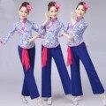 Синий и Белый Фарфор Женщины Барабанщиков с Талии Платок Женский Yangko Танец Костюм Китайский Народный Танец Одежда 89