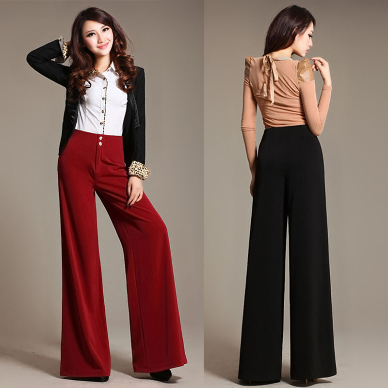 f6b1b45d20df New Plus Size Womens Split Wide Leg Pants Female High Waist Straight Loose  Suit Pants Lady Elegant Office Pants Trousers