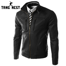 TANGNEST 2018 New Casual Slim Men Leather Jacket Fashion Men PU Leather Jacket Solid Color Mandarin Collar Male Jacket MWP269