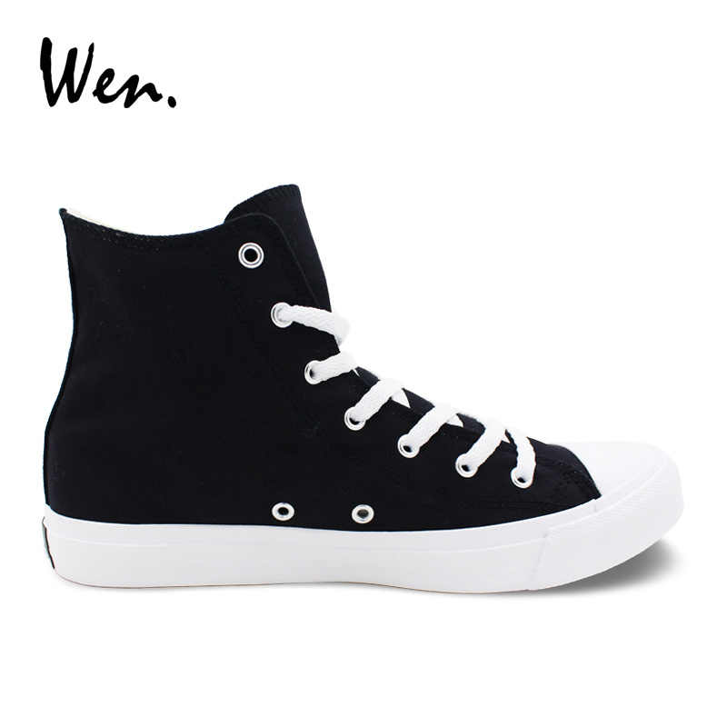 Wen Original รองเท้าผ้าใบการออกแบบดอกไม้สีสันสดใสดอกไม้ Hibiscus High Top สีดำสีขาวผู้หญิงรองเท้าผ้าใบรองเท้าสเก็ตบอร์ดรองเท้าผู้หญิง