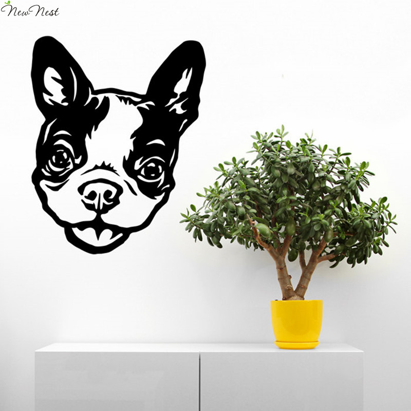 Boston Terrier Dog Wall Decal Vinyl Sticker Home Decor Funny Head Art Mural