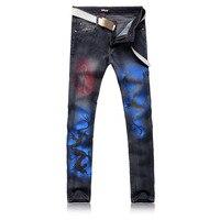 Moda męska Kolor Smok Drukowane Czarne Dżinsy Prosto Slim Fit Skinny Bar Nocny Spodnie Jeansowe Dla Fajnych Ludzi